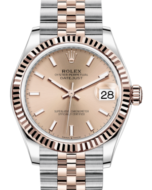 Rolex Lady-Datejust 31 Rose Gold/Steel Rose Index Dial & Fluted Bezel Jubilee Bracelet 278271 - BRAND NEW