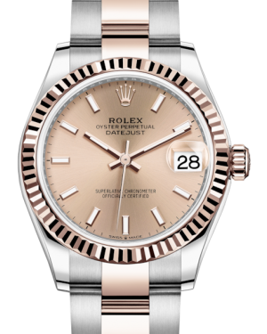 Rolex Lady-Datejust 31 Rose Gold/Steel Rose Index Dial & Fluted Bezel Oyster Bracelet 278271 - BRAND NEW