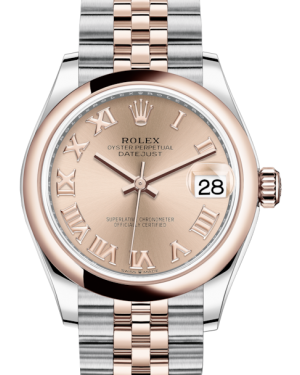 Rolex Lady-Datejust 31 Rose Gold/Steel Rose Roman Dial & Smooth Domed Bezel Jubilee Bracelet 278241 - BRAND NEW