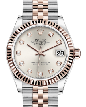 Rolex Lady-Datejust 31 Rose Gold/Steel Silver Diamond Dial & Fluted Bezel Jubilee Bracelet 278271 - BRAND NEW