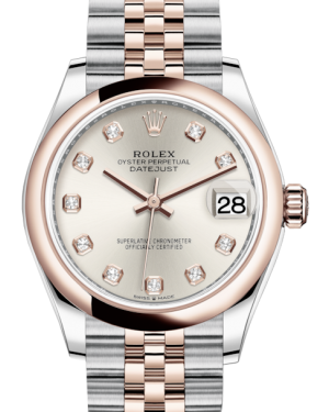 Rolex Lady-Datejust 31 Rose Gold/Steel Silver Diamond Dial & Smooth Domed Bezel Jubilee Bracelet 278241 - BRAND NEW