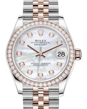 Rolex Lady-Datejust 31 Rose Gold/Steel White Mother of Pearl Diamond Dial & Diamond Bezel Jubilee Bracelet 278381RBR - BRAND NEW