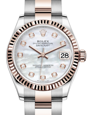 Rolex Lady-Datejust 31 Rose Gold/Steel White Mother of Pearl Diamond Dial & Fluted Bezel Oyster Bracelet 278271 - BRAND NEW