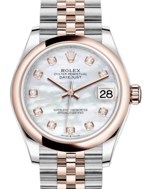 Rolex Lady-Datejust 31 Rose Gold/Steel White Mother of Pearl Diamond Dial & Smooth Domed Bezel Jubilee Bracelet 278241 - BRAND NEW