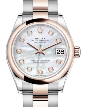 Rolex Lady-Datejust 31 Rose Gold/Steel White Mother of Pearl Diamond Dial & Smooth Domed Bezel Oyster Bracelet 278241 - BRAND NEW