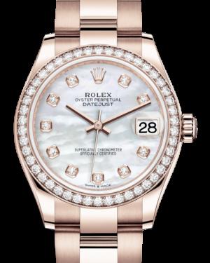 Rolex Lady-Datejust 31 Rose Gold White Mother of Pearl Diamond Dial & Diamond Bezel Oyster Bracelet 278285RBR - BRAND NEW