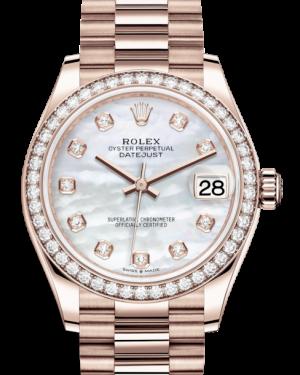 Rolex Lady-Datejust 31 Rose Gold White Mother of Pearl Diamond Dial & Diamond Bezel President Bracelet 278285RBR - BRAND NEW