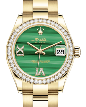Rolex Lady-Datejust 31 Yellow Gold Malachite Roman Diamond VI Dial & Diamond Bezel Oyster Bracelet 278288RBR - BRAND NEW