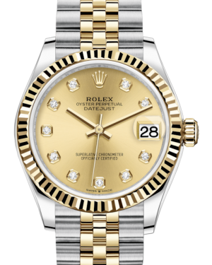 Rolex Lady-Datejust 31 Yellow Gold/Steel Champagne Diamond Dial & Fluted Bezel Jubilee Bracelet 278273 - BRAND NEW