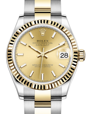 Rolex Lady-Datejust 31 Yellow Gold/Steel Champagne Index Dial & Fluted Bezel Oyster Bracelet 278273 - BRAND NEW