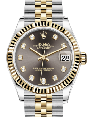 Rolex Lady-Datejust 31 Yellow Gold/Steel Dark Grey Diamond Dial & Fluted Bezel Jubilee Bracelet 278273 - BRAND NEW