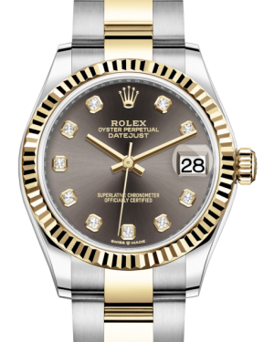 Rolex Lady-Datejust 31 Yellow Gold/Steel Dark Grey Diamond Dial & Fluted Bezel Oyster Bracelet 278273 - BRAND NEW