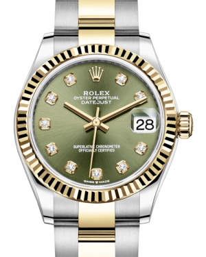 Rolex Lady-Datejust 31 Yellow Gold/Steel Olive Green Diamond Dial & Fluted Bezel Oyster Bracelet 278273 - BRAND NEW