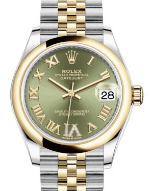 Rolex Lady-Datejust 31 Yellow Gold/Steel Olive Green Roman Diamond VI Dial & Smooth Domed Bezel Jubilee Bracelet 278243 - BRAND NEW