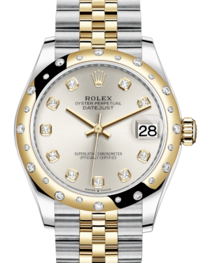 Rolex Lady-Datejust 31 Yellow Gold/Steel Silver Diamond Dial & Domed Set with Diamonds Bezel Jubilee Bracelet 278343RBR - BRAND NEW