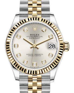 Rolex Lady-Datejust 31 Yellow Gold/Steel Silver Diamond Dial & Fluted Bezel Jubilee Bracelet 278273 - BRAND NEW
