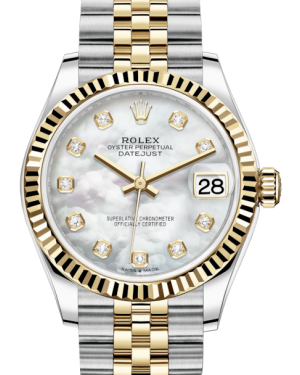 Rolex Lady-Datejust 31 Yellow Gold/Steel White Mother of Pearl Diamond Dial & Fluted Bezel Jubilee Bracelet 278273 - BRAND NEW
