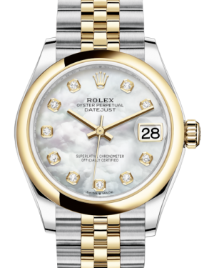 Rolex Lady-Datejust 31 Yellow Gold/Steel White Mother of Pearl Diamond Dial & Smooth Domed Bezel Jubilee Bracelet 278243 - BRAND NEW