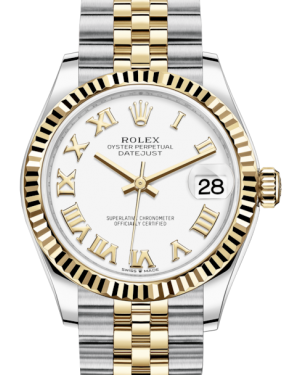 Rolex Lady-Datejust 31 Yellow Gold/Steel White Roman Dial & Fluted Bezel Jubilee Bracelet 278273 - BRAND NEW