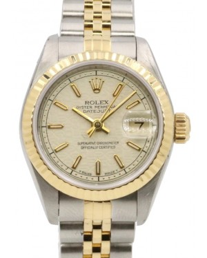 Rolex Lady-Datejust Steel Yellow Gold White Jubilee Index Dial Gold Fluted Bezel Jubilee Bracelet 69173 - PRE-OWNED
