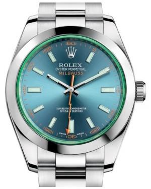 Rolex Milgauss Green Crystal Stainless Steel Blue Dial & Bezel Oyster Bracelet 116400GV - BRAND NEW