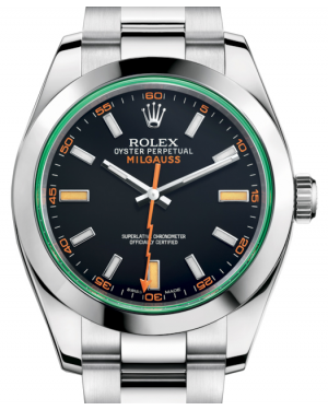 Rolex Milgauss Green Crystal Stainless Steel Black Dial Smooth Bezel Oyster Bracelet 116400GV - BRAND NEW