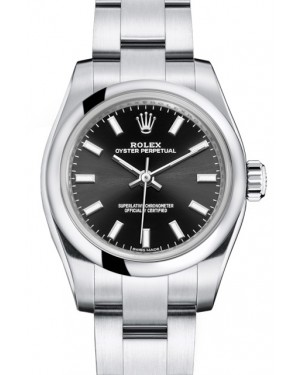 Rolex Oyster Perpetual 26 Ladies Stainless Steel Black Index Dial Smooth Bezel & Oyster Bracelet 176200 - BRAND NEW
