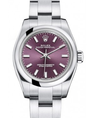 Rolex Oyster Perpetual 26 Ladies Stainless Steel Red Grape Index Dial Smooth Bezel & Oyster Bracelet 176200 - BRAND NEW