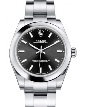 Rolex Oyster Perpetual 31 Ladies Midsize Stainless Steel Black Index Dial Smooth Bezel & Oyster Bracelet 177200 - BRAND NEW