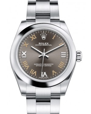 Rolex Oyster Perpetual 31 Ladies Midsize Stainless Steel Dark Grey Roman Dial Smooth Bezel & Oyster Bracelet 177200 - BRAND NEW