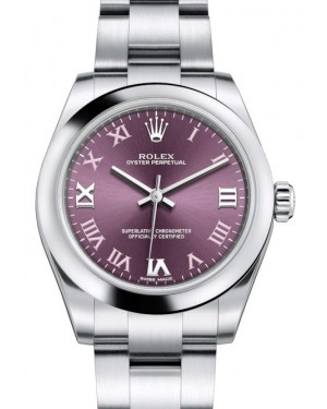 Rolex Oyster Perpetual 31 Ladies Midsize Stainless Steel Red Grape Roman Dial Smooth Bezel & Oyster Bracelet 177200 - BRAND NEW