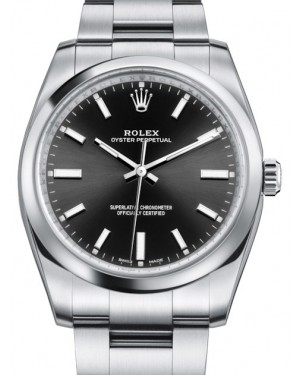 Rolex Oyster Perpetual 34 Stainless Steel Black Index Dial & Smooth Bezel Oyster Bracelet 114200 - BRAND NEW