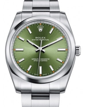 Rolex Oyster Perpetual 34 Stainless Steel Olive Green Index Dial & Smooth Bezel Oyster Bracelet 114200 - BRAND NEW