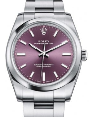Rolex Oyster Perpetual 34 Stainless Steel Red Grape Index Dial & Smooth Bezel Oyster Bracelet 114200 - BRAND NEW