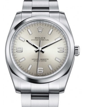 Rolex Oyster Perpetual 34 Stainless Steel Silver Arabic / Index Dial & Smooth Bezel Oyster Bracelet 114200 - BRAND NEW