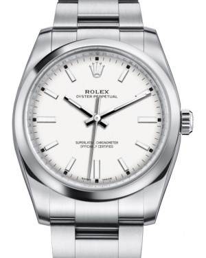 Rolex Oyster Perpetual 34 Stainless Steel White Index Dial & Smooth Bezel Oyster Bracelet 114200