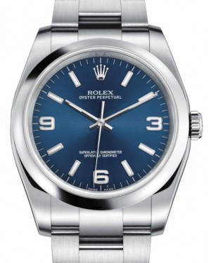 Rolex Oyster Perpetual 36 Stainless Steel Blue Arabic / Index Dial & Smooth Bezel Oyster Bracelet 116000 - BRAND NEW