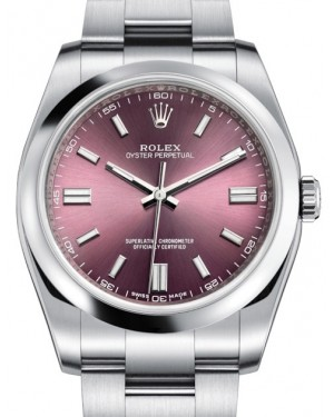 Rolex Oyster Perpetual 36 Stainless Steel Red Grape Index Dial & Smooth Bezel Oyster Bracelet 116000 - BRAND NEW