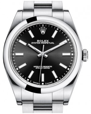Rolex Oyster Perpetual 39 Stainless Steel Black Index Dial & Smooth Bezel Oyster Bracelet 114300 - BRAND NEW