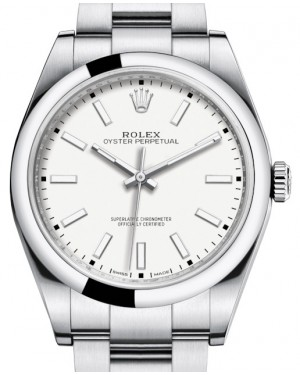 Rolex Oyster Perpetual 39 Stainless Steel White Index Dial & Smooth Bezel Oyster Bracelet 114300 - UNWORN