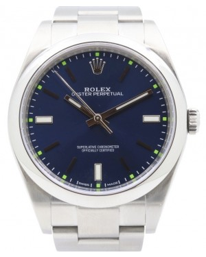 Rolex Oyster Perpetual 39 Stainless Steel Blue Index Dial & Smooth Bezel Oyster Bracelet 114300 - PRE-OWNED