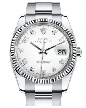 Rolex Oyster Perpetual Date 34 White Gold/Steel White Arabic / Diamond Dial & Fluted Bezel Oyster Bracelet 115234 - BRAND NEW