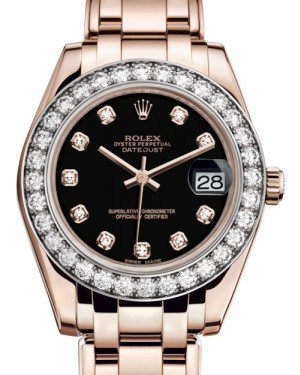 Rolex Pearlmaster 34 Rose Gold Black Diamond Dial & Diamond Bezel Pearlmaster Bracelet 81285 - BRAND NEW