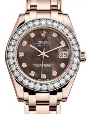 Rolex Pearlmaster 34 Rose Gold Black Mother of Pearl Diamond Dial & Diamond Bezel Pearlmaster Bracelet 81285 - BRAND NEW