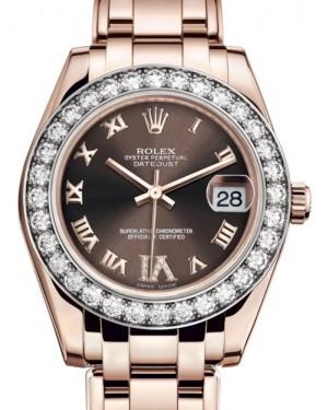 Rolex Pearlmaster 34 Rose Gold Chocolate Roman & Diamond VI Dial & Diamond Bezel Pearlmaster Bracelet 81285 - BRAND NEW