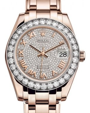 Rolex Pearlmaster 34 Rose Gold Diamond Paved Roman Dial & Diamond Bezel Pearlmaster Bracelet 81285 - BRAND NEW