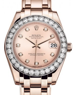 Rolex Pearlmaster 34 Rose Gold Pink Diamond Dial & Diamond Bezel Pearlmaster Bracelet 81285 - BRAND NEW