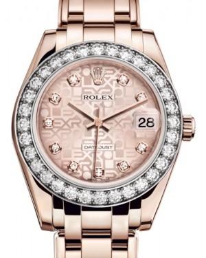 Rolex Pearlmaster 34 Rose Gold Pink Jubilee Diamond Dial & Diamond Bezel Pearlmaster Bracelet 81285 - BRAND NEW