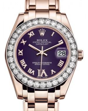 Rolex Pearlmaster 34 Rose Gold Purple Roman & Diamond VI Dial & Diamond Bezel Pearlmaster Bracelet 81285 - BRAND NEW