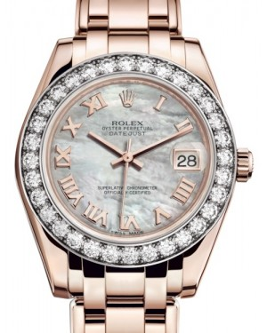 Rolex Pearlmaster 34 Rose Gold White Mother of Pearl Roman Dial & Diamond Bezel Pearlmaster Bracelet 81285 - BRAND NEW